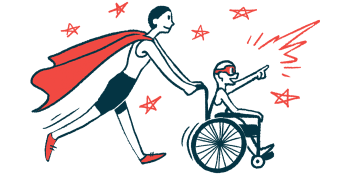 rare disease clinical trial participants | Fragile X News Today | Illustration of woman in cape pushing child in wheelchair